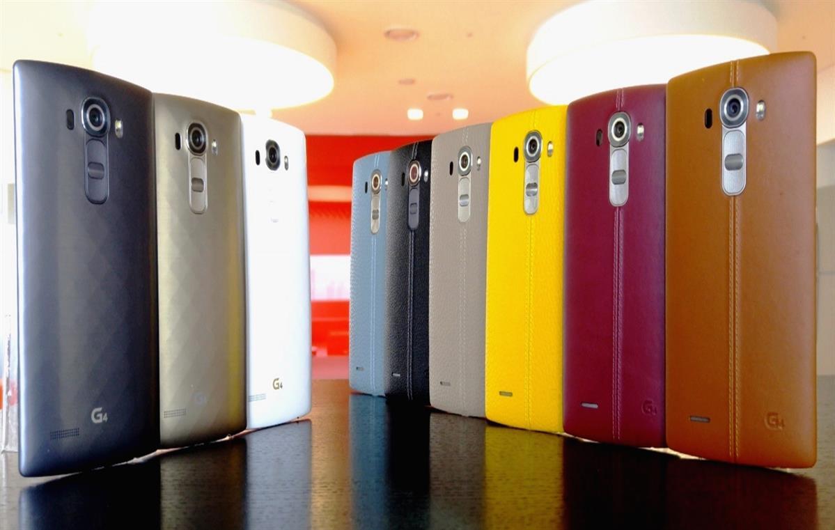 lg g4 smartphone colors farben gelb schwarz grau weiss rot